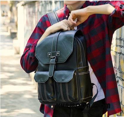 Plecak Męskie Vintage Moda Prosty Student Trendy Jakość Czarny