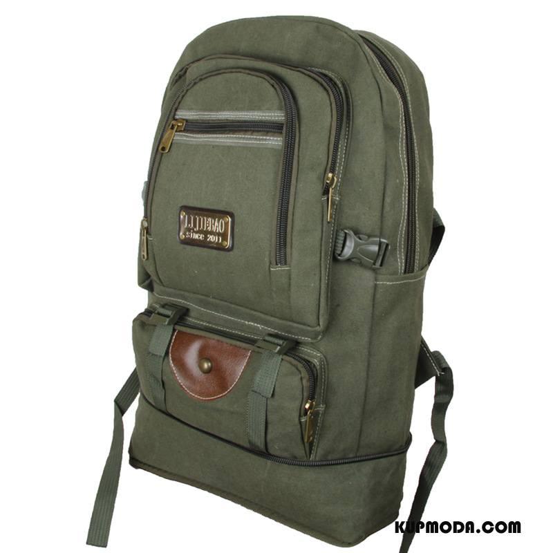 Plecak Podróżny Męskie Płótno Męska Vintage Torba Turystyczna Duża Pojemność Europa Zielony