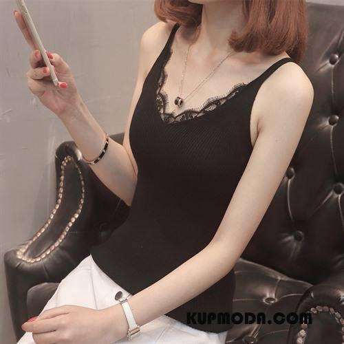Podkoszulki Damskie Piękny Szelki Moda Świeży Wiosna Tendencja Czarny