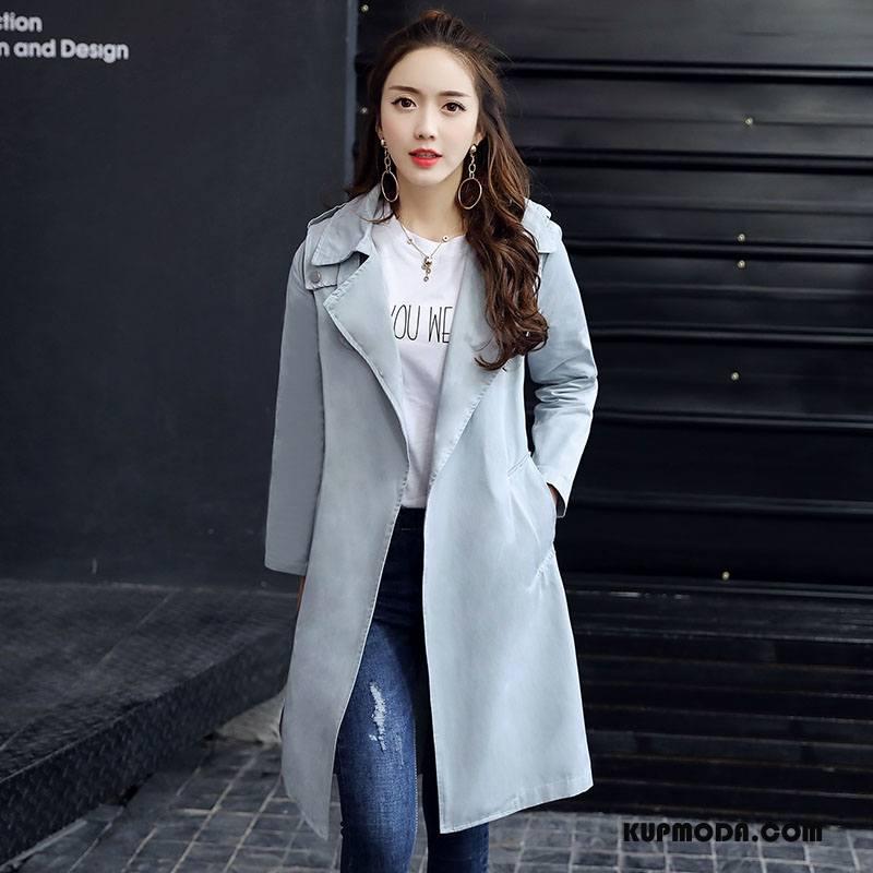 Prochowiec Damskie 2018 Eleganckie Moda Długi Rękaw Długie Wiosna Czysta Niebieski Szary