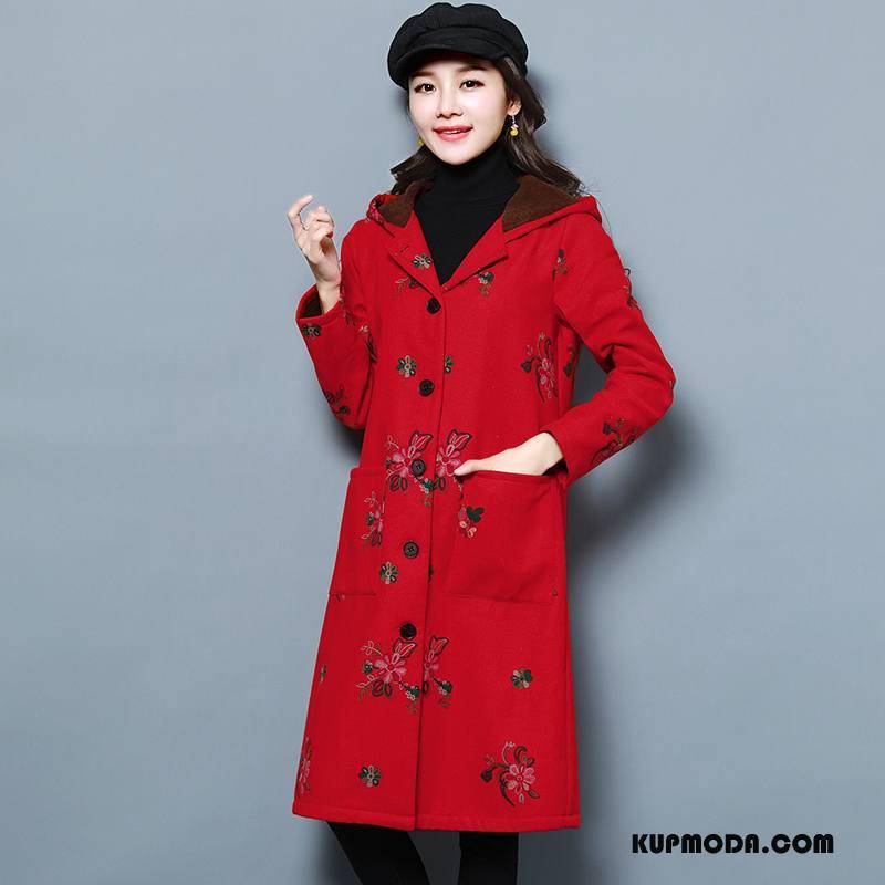 Prochowiec Damskie Długie Eleganckie Zima Dla Grubych Długi Rękaw Proste Czerwony