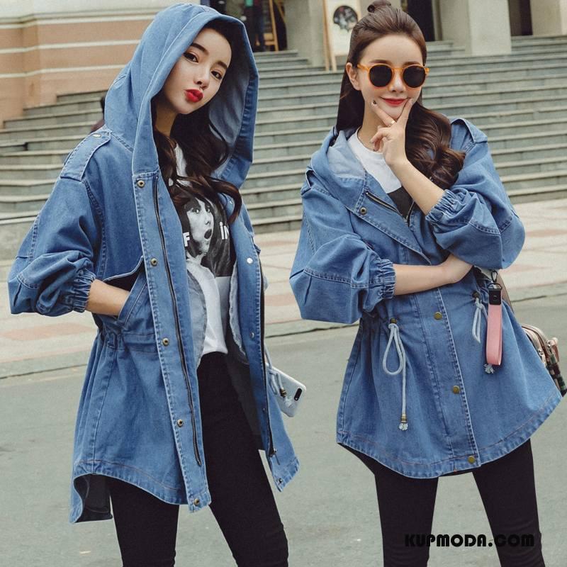 Prochowiec Damskie Kieszenie Casual 2018 Czyste Moda Długie Niebieski
