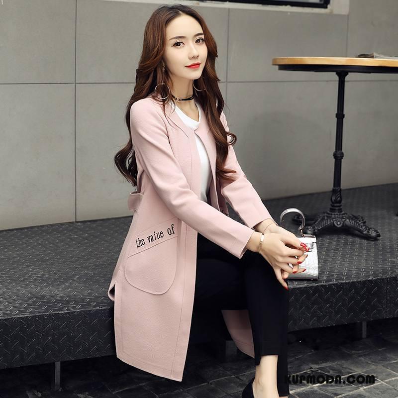 Prochowiec Damskie Moda Eleganckie Jesień Proste Rękawy Cienkie Różowy