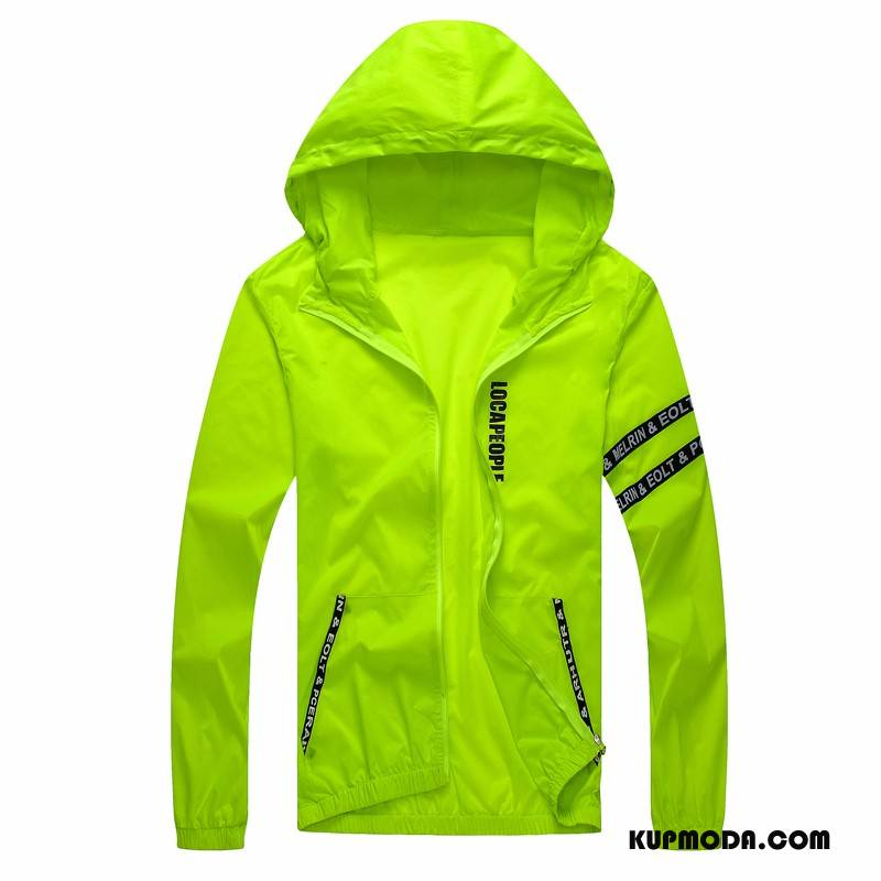Prochowiec Męskie Duże Duży Rozmiar Cienkie Skóra Oddychające Męska Fluorescencja Zielony