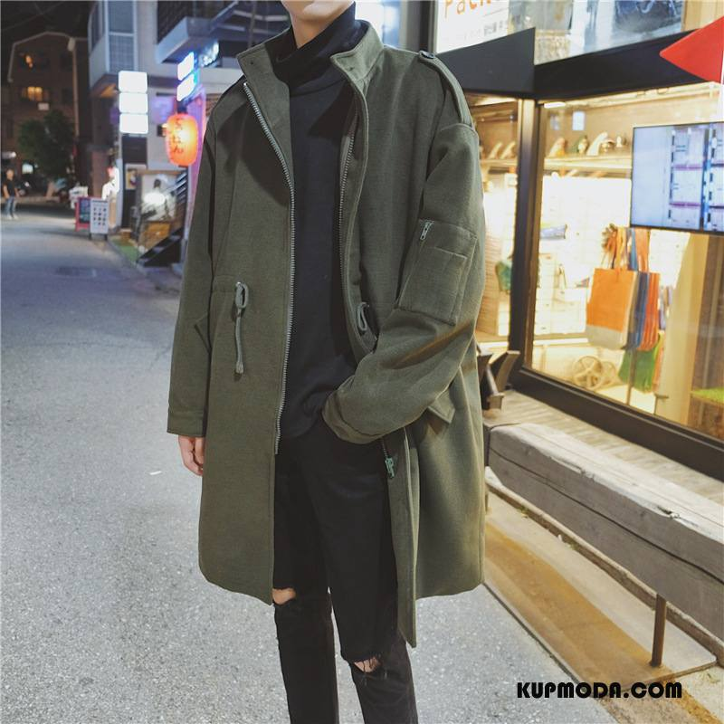 Prochowiec Męskie Tendencja Płaszcz Art Casual 2018 Mały Zielony
