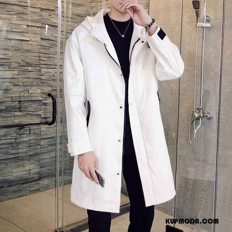 Prochowiec Męskie Tendencja Płaszcz Cienkie Piękny Długie Slim Fit Beżowy Biały Czerwony