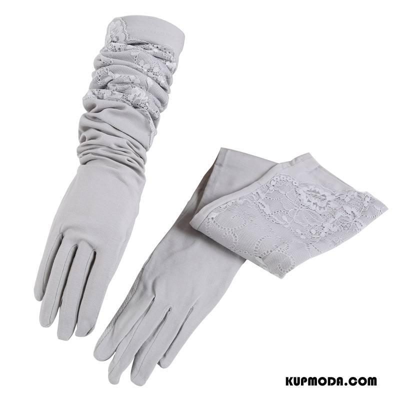 Rękawiczki Damskie 100% Bawełna Rękawy Oddychające Długa Sekcja Dla Kierowców Antypoślizgowe Fioletowy Szary