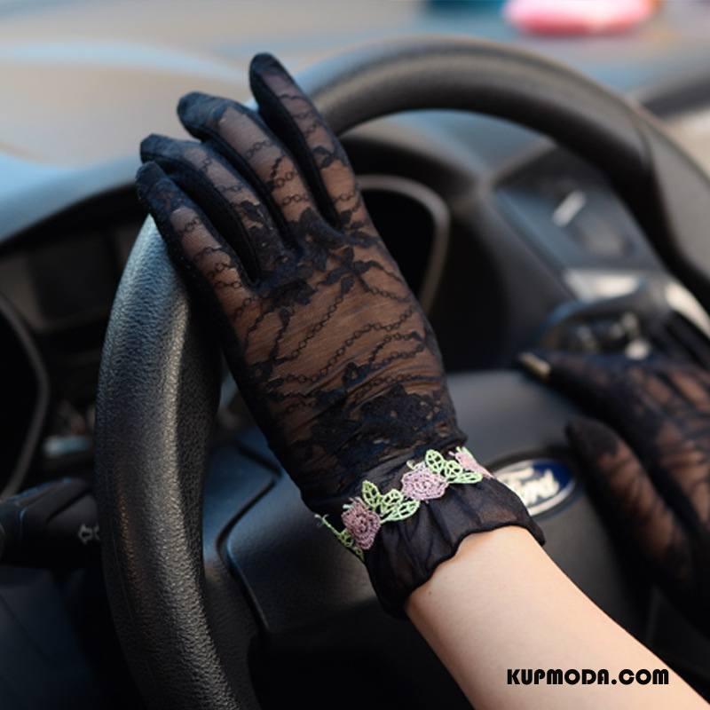 Rękawiczki Damskie Eleganckie Koronka Krótki Kwiaty Ekran Dotykowy Cienkie Czarny