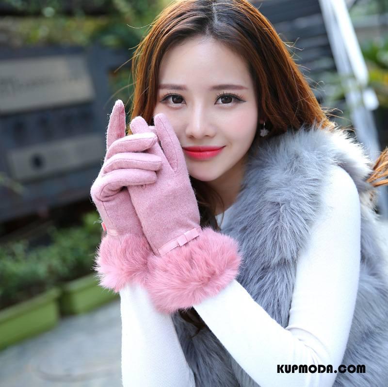 Rękawiczki Damskie Futro Królika Kaszmir Ekran Dotykowy Muszka Zima Moda Proszek