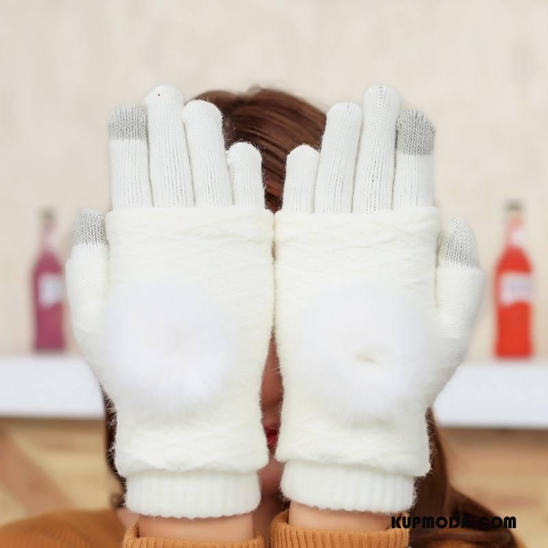 Rękawiczki Damskie Futrzany Pompon Zima Moda Damska Utrzymuj Ciepło Królik Biały