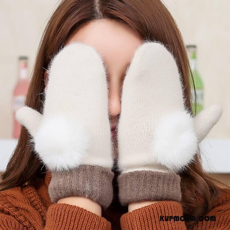 Rękawiczki Damskie Moda Aksamit Podwójna Królik Zima Jesień Biały