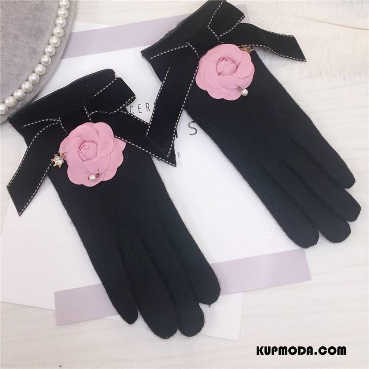 Rękawiczki Damskie Nowe Pasmo Aksamit Kwiaty Rhinestone Kaszmir Proszek Czarny