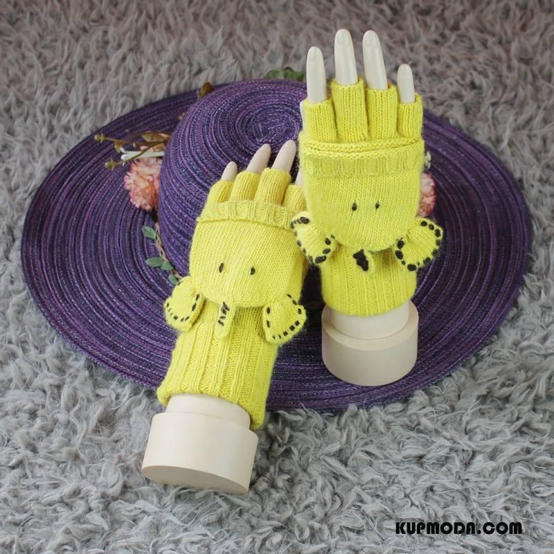 Rękawiczki Damskie Pół Palca Damska Student Wielofunkcyjne Zima Kaszmir Żółty