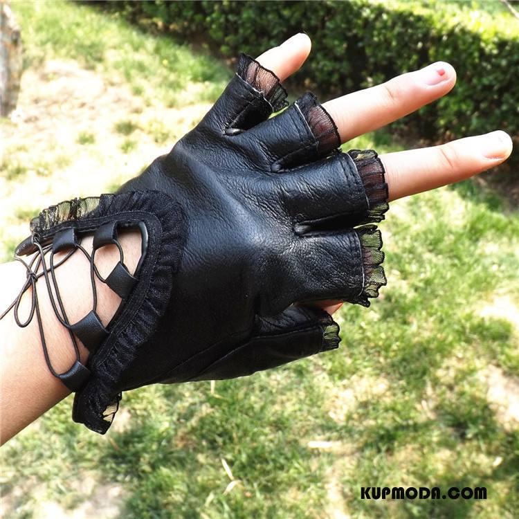 Rękawiczki Damskie Pół Palca Koronka Damska Prawdziwa Skóra Moda Dla Kierowców Czarny