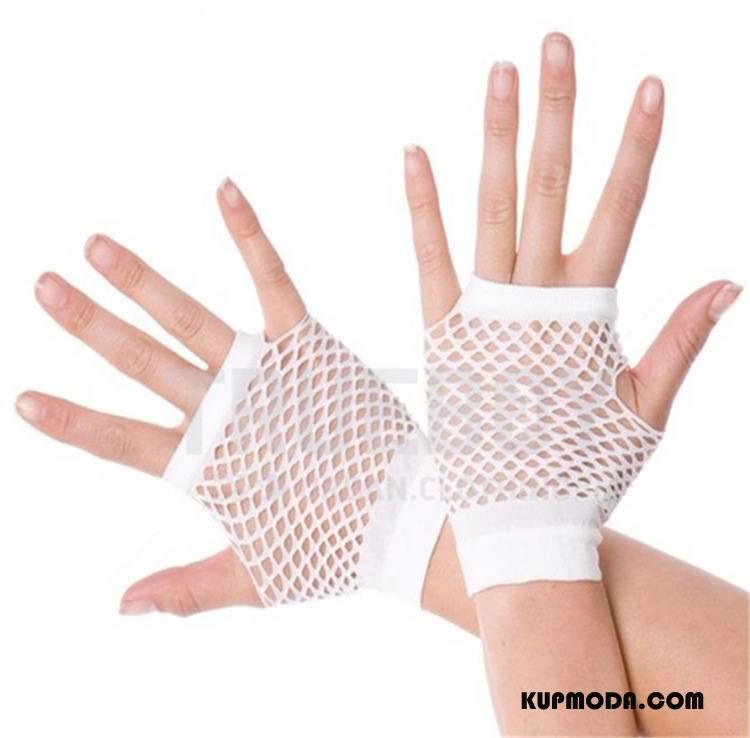 Rękawiczki Damskie Siatkowe Seksowna Pół Palca Krótki Panna Młoda Ślubna Biały