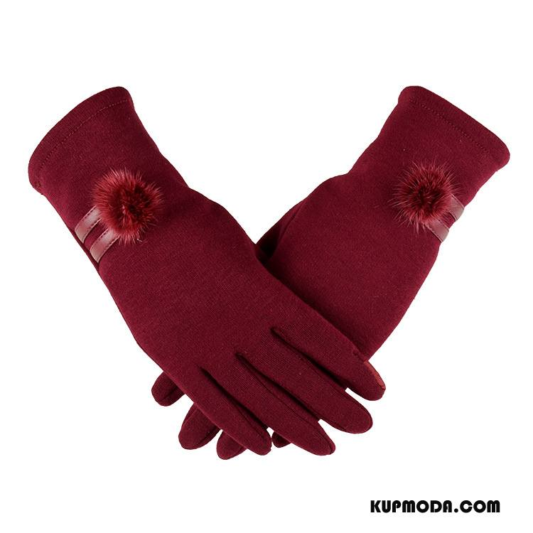 Rękawiczki Damskie Utrzymuj Ciepło Ładny Aksamit Zima Ekran Dotykowy Damska Czerwony