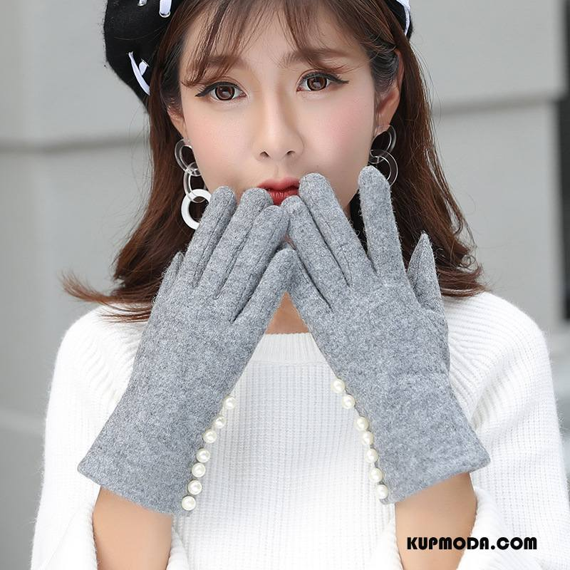 Rękawiczki Damskie Utrzymuj Ciepło Dla Kierowców Pięć Palców Zima Student Aksamit Szary