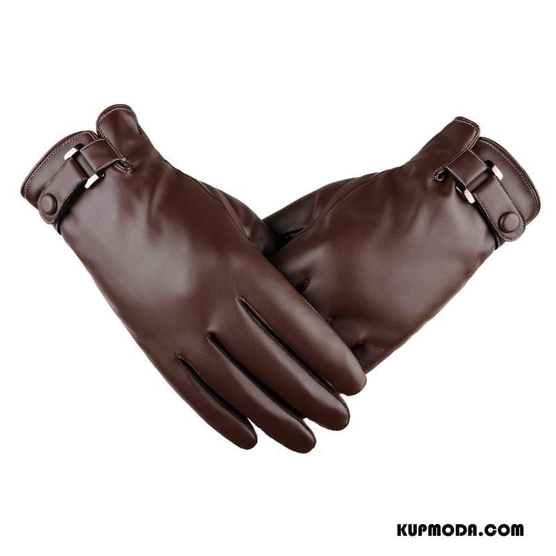 Rękawiczki Męskie Aksamit Jesień Moda Sprane Dla Grubych Cienkie Kawowy