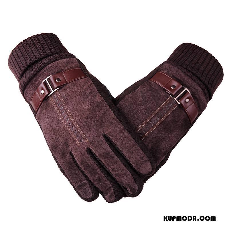 Rękawiczki Męskie Dla Grubych Aksamit Jeździć Na Rowerze Utrzymuj Ciepło Wodoodporny Antypoślizgowe Brązowy