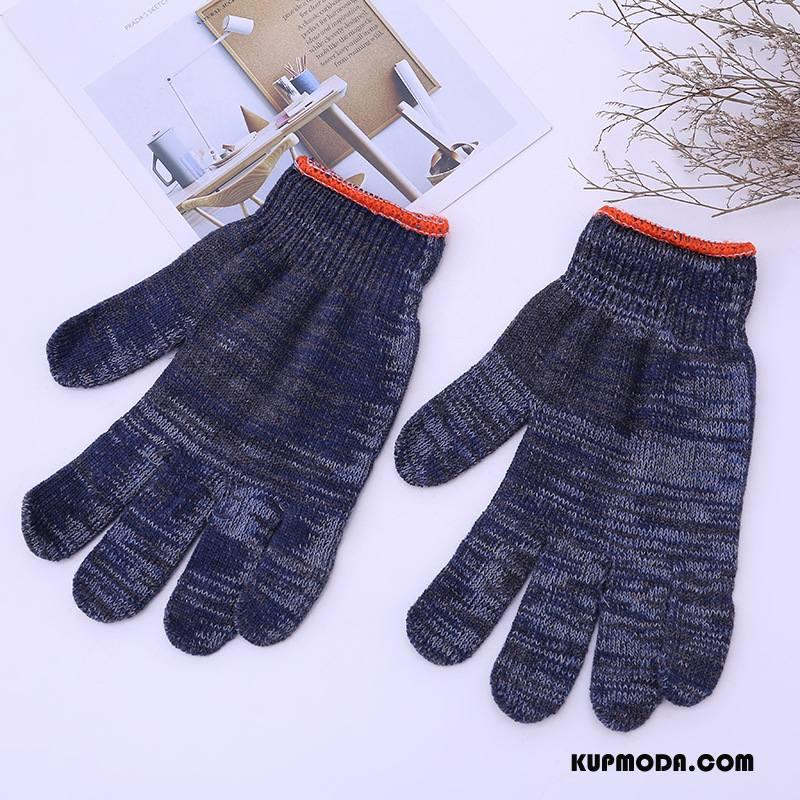 Rękawiczki Męskie Dobrze Outdoor Z Bawełny Męska Utrzymuj Ciepło Odporne Na Zużycie Ciemno Niebieski