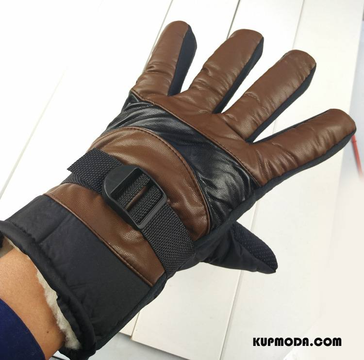 Rękawiczki Męskie Męska Dla Grubych Długie Outdoor Utrzymuj Ciepło Antypoślizgowe Brązowy