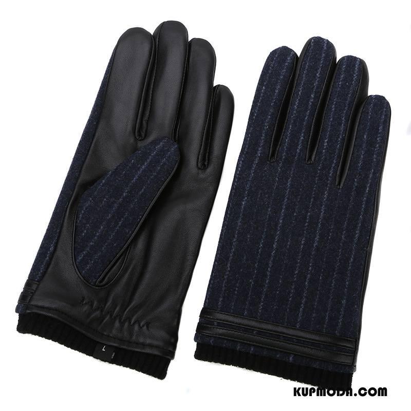 Rękawiczki Męskie Męska Moda Aksamit Skóra Owcza Dla Grubych Zima Niebieski