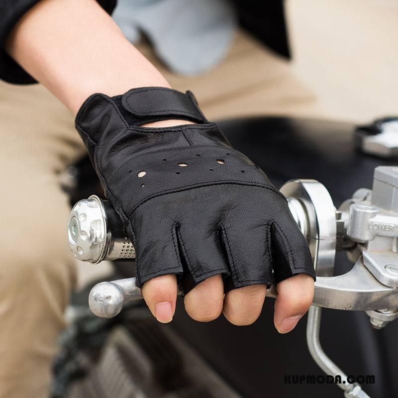 Rękawiczki Męskie Outdoor Skóra Owcza Walka Sportowe Pół Palca Jesień Czarny