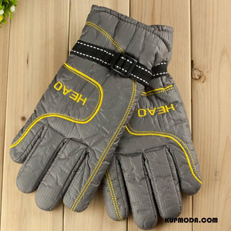 Rękawiczki Męskie Podwójna Utrzymuj Ciepło Zima Wielki Casual Męska Szary