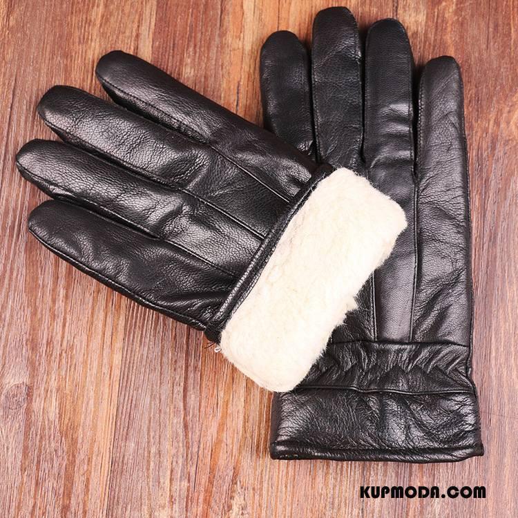 Rękawiczki Męskie Prawdziwa Skóra Utrzymuj Ciepło Ciepły Męska Jazdy Outdoor Czarny