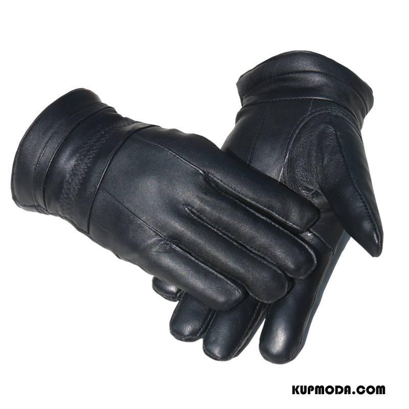 Rękawiczki Męskie Skóra Skóra Owcza Męska Utrzymuj Ciepło Dla Kierowców Jazdy Czarny