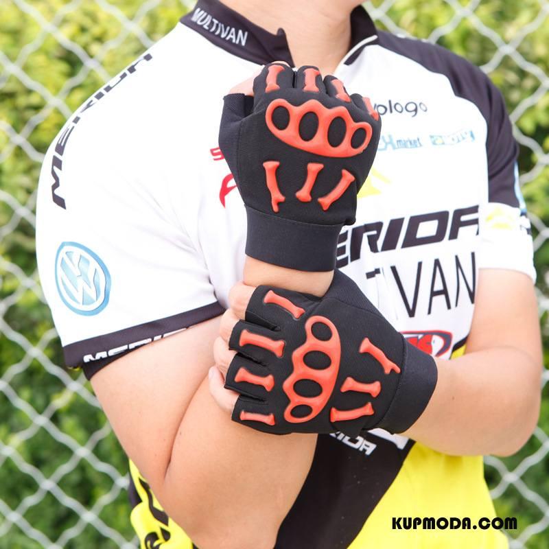 Rękawiczki Męskie Sportowe Fitness Jazdy Antypoślizgowe Czaszka Rower Fluorescencja Pomarańczowy