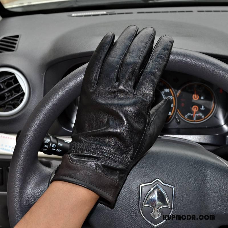 Rękawiczki Męskie Utrzymuj Ciepło Outdoor Osobowość Skóra Owcza Moda Męska Czarny