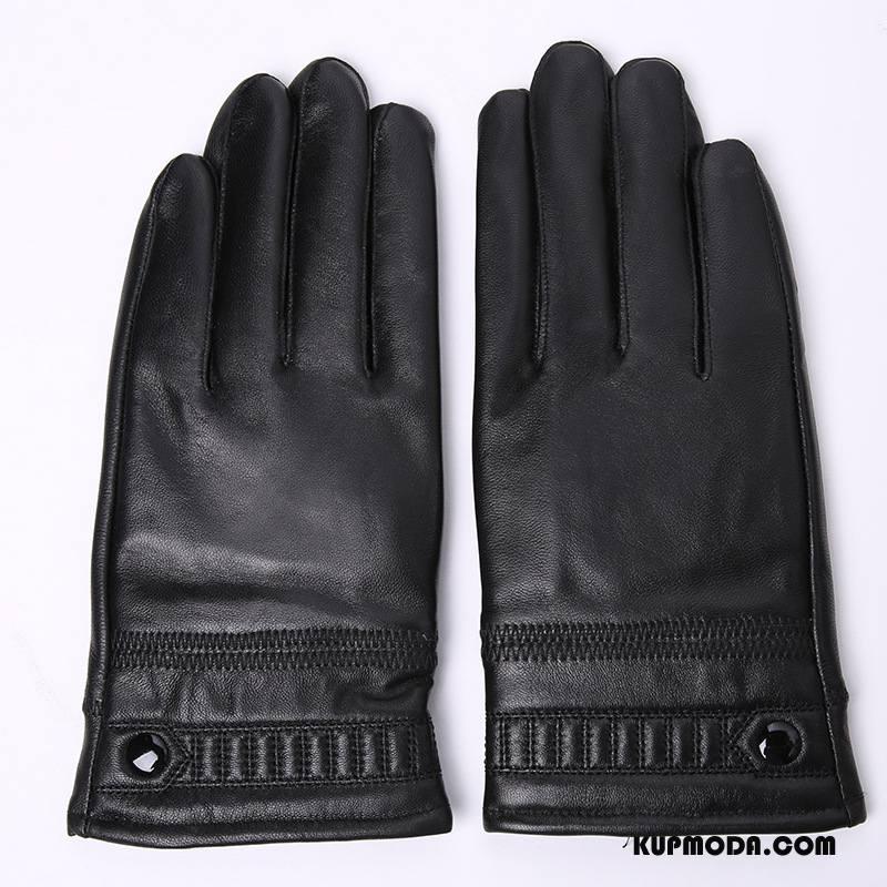 Rękawiczki Męskie Zima Prawdziwa Skóra Dla Grubych Dla Kierowców Męska Utrzymuj Ciepło Czarny