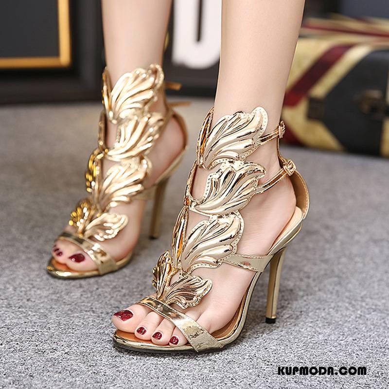 Sandały Damskie Dobrze Wysokie Obcasy Damska Rzym Złoty