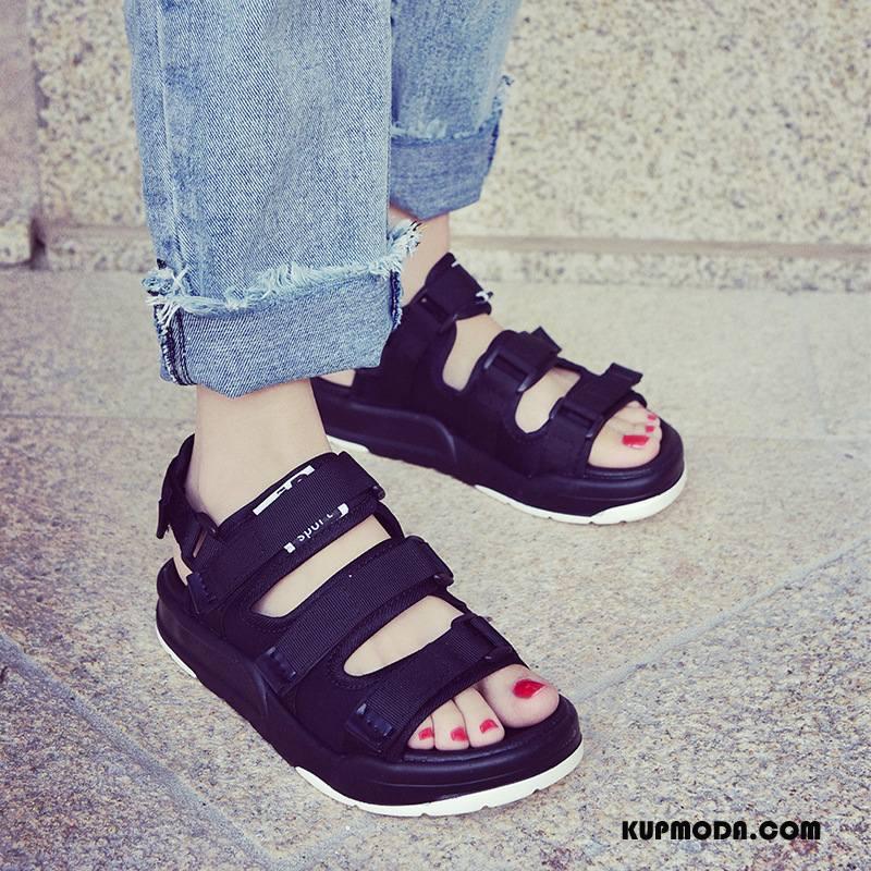 Sandały Damskie Oddychające Moda Kapcie Damska Wszystko Pasuje Tendencja Czarny