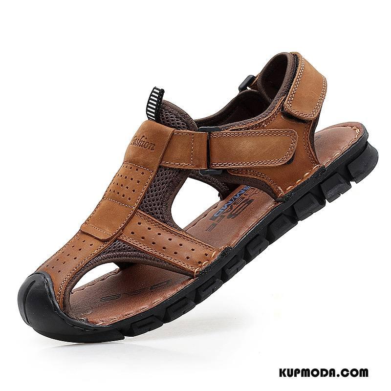 Sandały Męskie Casual Buty Antypoślizgowe Outdoor Skóra Bydlęca Prawdziwa Skóra Brązowy