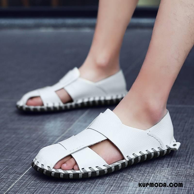 Sandały Męskie Casual Plażowe Skórzane Buty Męska Tendencja Miękka Podeszwa Biały