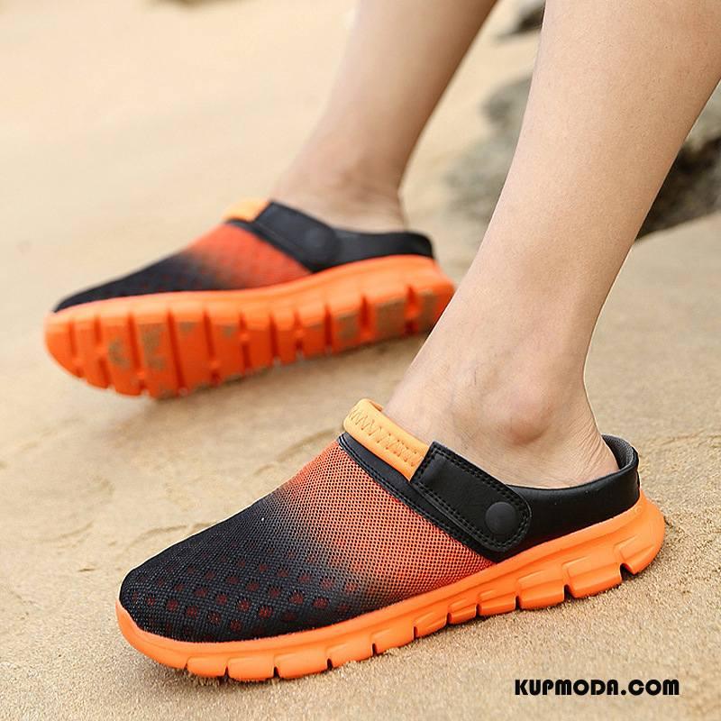 Sandały Męskie Kapcie Lato Zakochani Plażowe Duży Rozmiar Męska Oranż