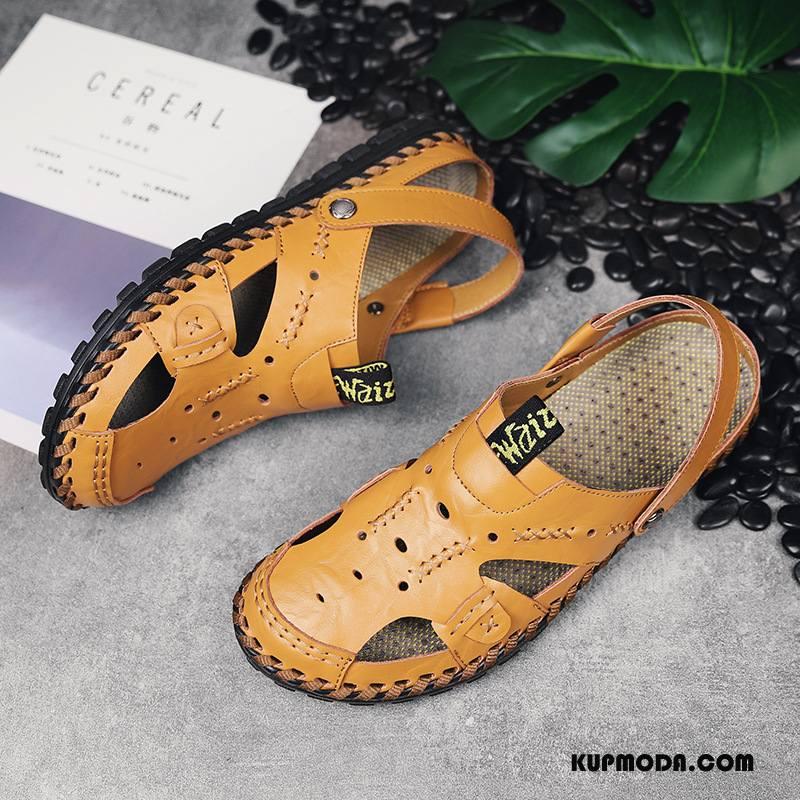 Sandały Męskie Moda Oddychające Prawdziwa Skóra Popularny Slip On Lato Żółty