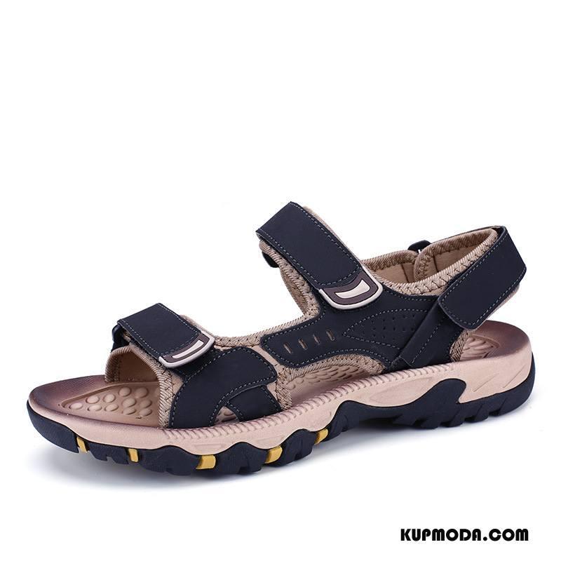 Sandały Męskie Outdoor Buty Podróż Lekkie Casual Prawdziwa Skóra Czarny