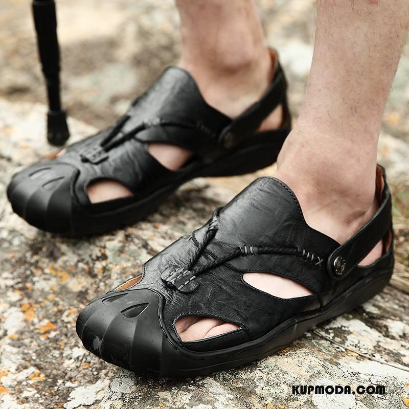 Sandały Męskie Plażowe Męska Moda Wygodne Oddychające Outdoor Czarny