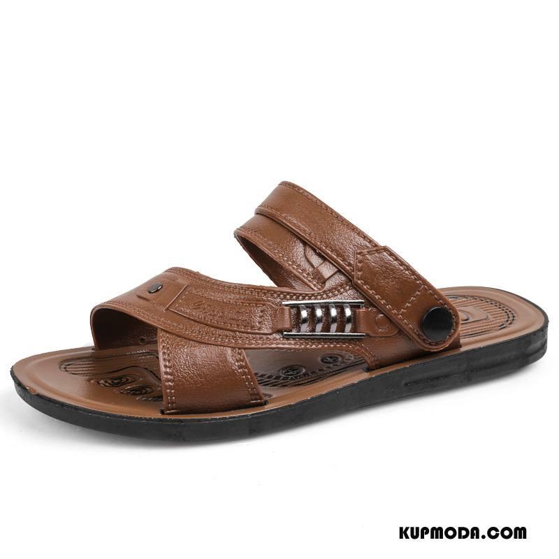 Sandały Męskie Tendencja Z Grubą Podeszwą Buty Odporne Na Zużycie Plażowe Antypoślizgowe Brązowy