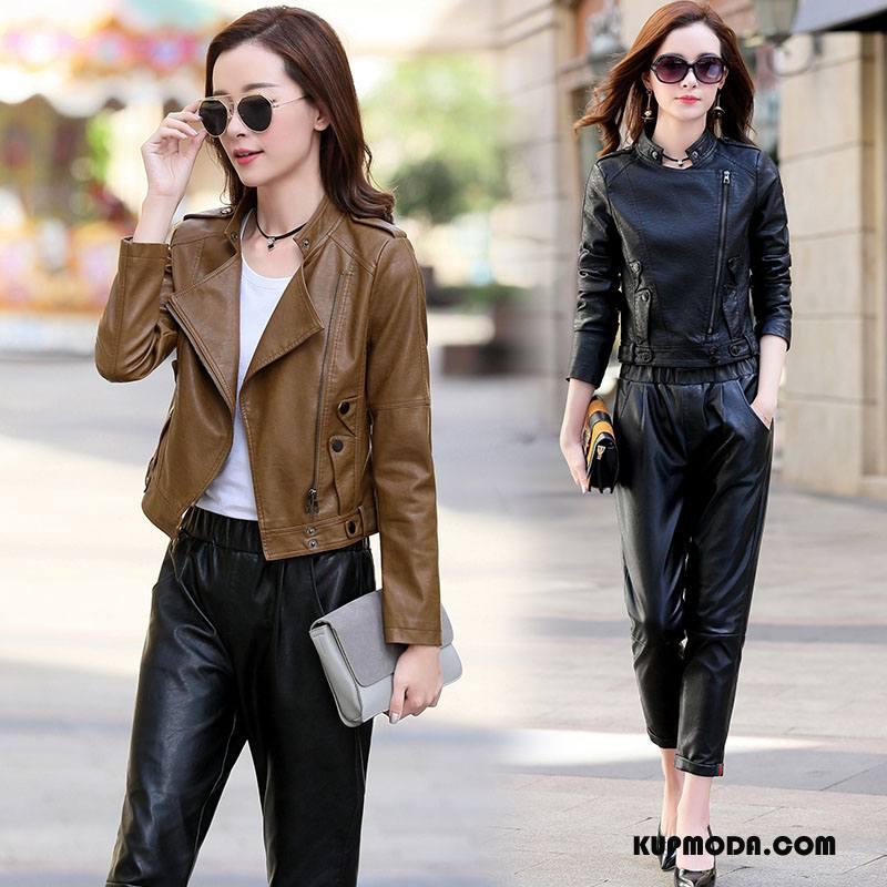 Skórzana Kurtka Damskie Moda Długi Rękaw Sprane Skóra Slim Fit Tendencja Czarny