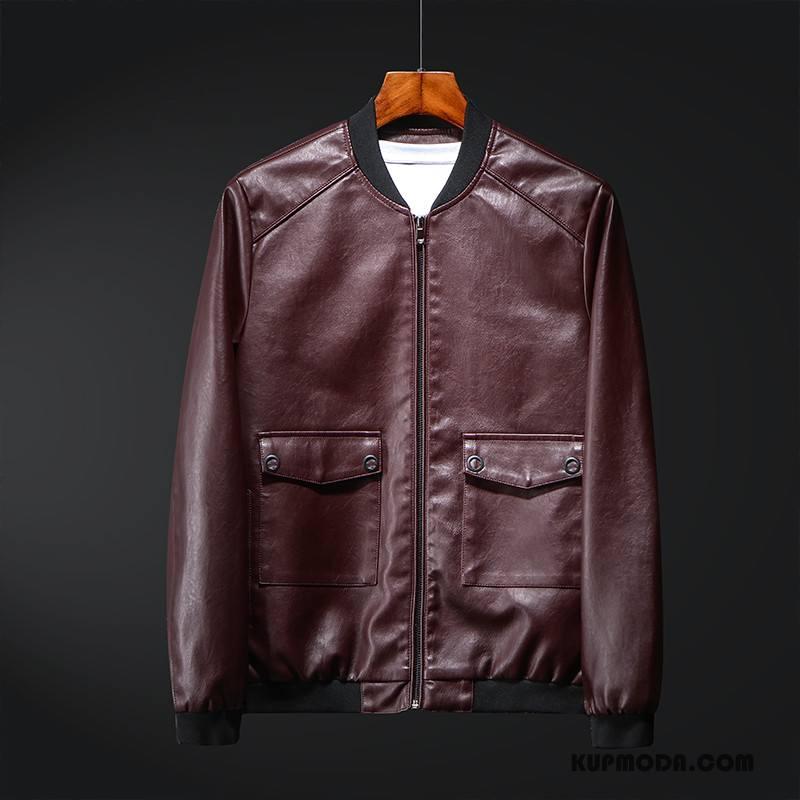Skórzana Kurtka Męskie Slim Fit Motocyklem Nowy Piękny Wysoki Kołnierz Tendencja Burgund