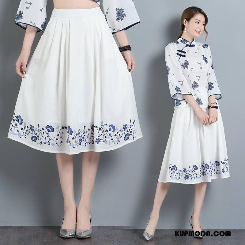 Spódnica Damskie Moda 2018 Eleganckie Casual Roślina Plisowana Biały