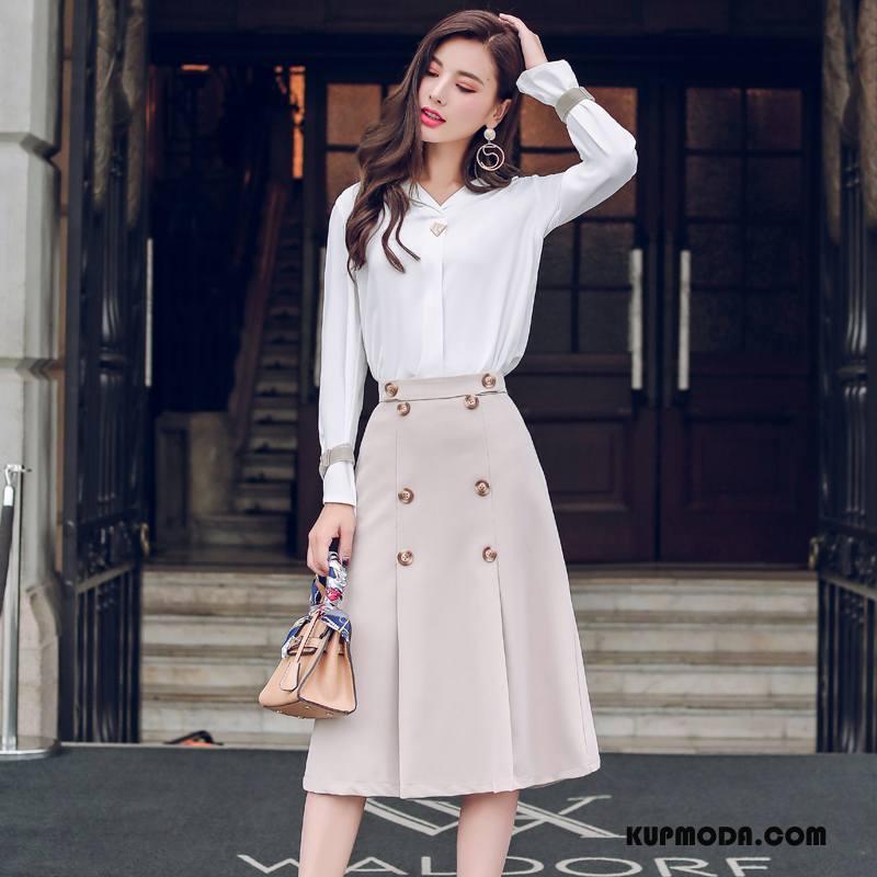 Spódnica Damskie Szerokie Slim Fit Eleganckie Jesień 2018 Długie Beżowy Biały