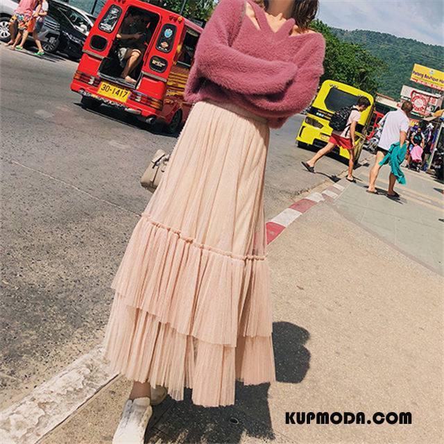 Spódnica Damskie Szycie Wiosna Plisowana Długie Sukienka Casual