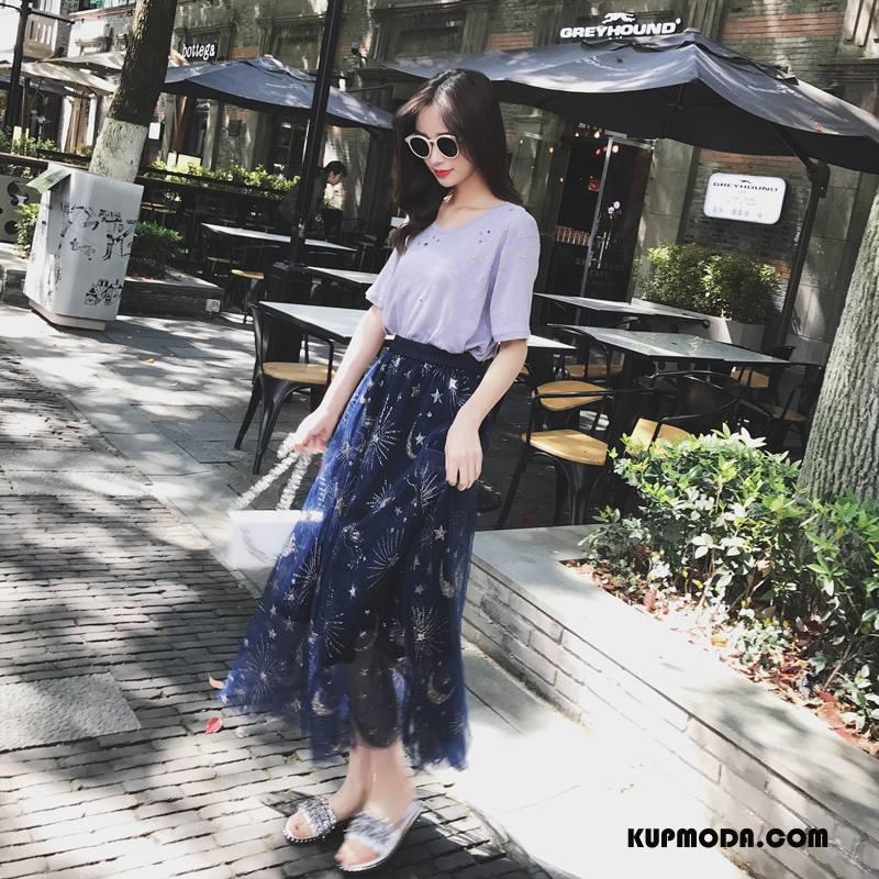 Spódnica Damskie Tendencja Moda Eleganckie Kwiaty 2018 Wiosna Ciemno Niebieski