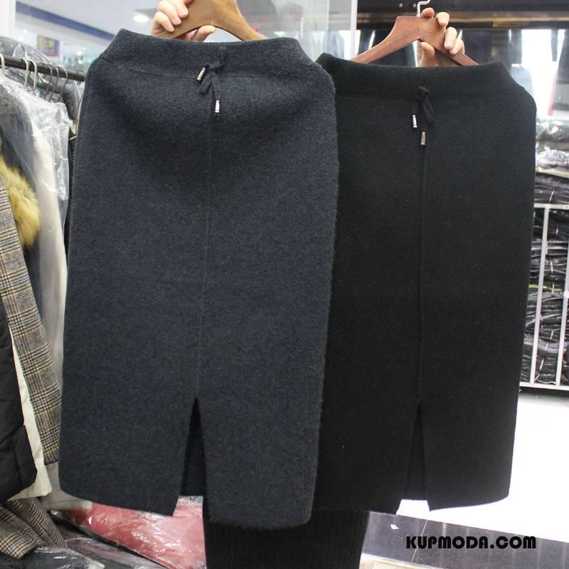 Spódnica Damskie Wiosna Świeży Cienkie Moda Swag Długie Czysta Szary Ciemno