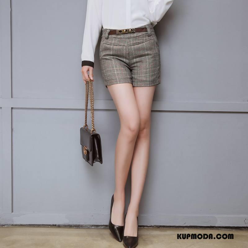 Spodenki Damskie Moda Eleganckie Wiosna 2018 Cienkie Gorące Spodnie Szary